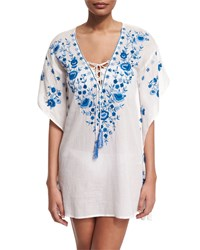 Letarte Pebble Floral Embroidered Caftan Coverup Cornflower