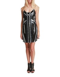 Walter Baker Pippa Sequin Embellished Slip Dress Black Silver