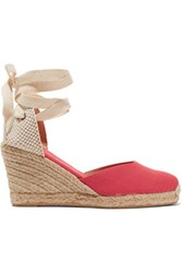 Soludos Lace Up Canvas Wedge Espadrilles Papaya