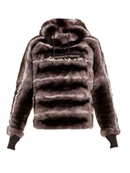 Aurelie Demel Oto Rex Fur Hooded Sweatshirt Brown Multi