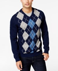 Club Room Big And Tall Cashmere Argyle V Neck Sweater Only At Macy's Midnight Blue