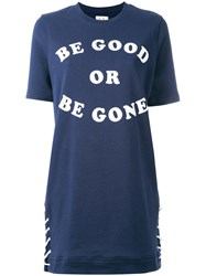 Zoe Karssen Slogan Print T Shirt Dress Blue