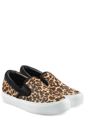 Salvatore Ferragamo Leopard Printed Slip On Sneakers Animal Prints