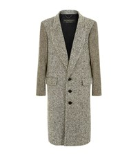 Burberry Runway Herringbone Wool Coat Male Beige