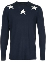 Guild Prime Star Intarsia Knit Jumper Acrylic Wool Blue