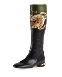 Gucci Pam Tiger Embroidered Tall Boot Black