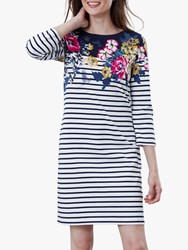 Joules Floral Print 3 4 Sleeve Jersey Dress Navy Multi
