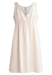 United Colors Of Benetton Summer Dress White Beige