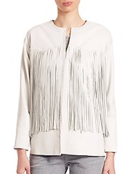 Eleventy Leather Fringe Trimmed Jacket White