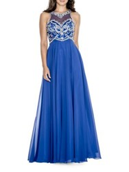 Decode 1.8 Bead Embellished Flowy Gown Royal