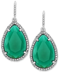 Abs By Allen Schwartz Earrings Silver Tone Green Stone Pave Crystal Teardrop Earrings