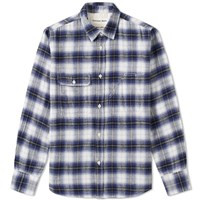 Universal Works Brush Check Chore Shirt Blue