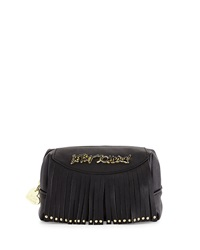 Betsey Johnson On The Fringe Faux Leather Cosmetic Bag Black
