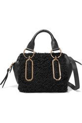 See By Chloe Small Shearling And Leather Shoulder Bag Black