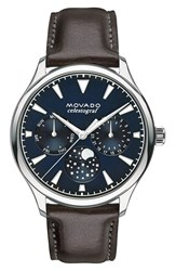 Movado Women's 'Heritage' Multifunction Leather Strap Watch 36Mm