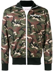 Palm Angels Camouflage Bomber Jacket Green