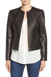 Cole Haan Quilted Genuine Lamb Leather Moto Jacket Black