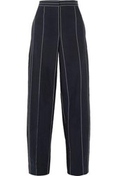 Cedric Charlier Pinstriped Linen And Cotton Blend Wide Leg Pants Black