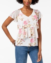 Ny Collection Petite Printed Tiered Mesh Top Ivory Power Petal