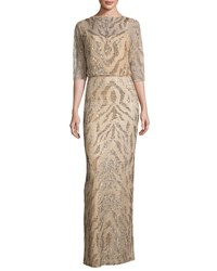 Rachel Gilbert Beaded Half Sleeve Capelet Gown Gold