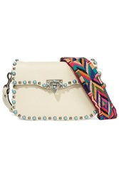 Valentino The Rockstud Textured Leather Shoulder Bag Ivory