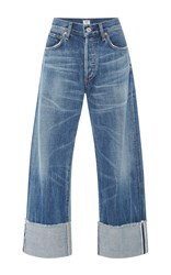 Citizens Of Humanity Parker Relaxed Selvedge Cuffed Cropped Mid Rise Jeans Medium Wash