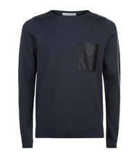 Sandro Pocket Sweater Male Navy