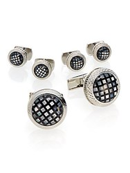 Ike Behar Rhodium Plated Brass And Mother Of Pearl Checked Cuff Links And Studs Set Black