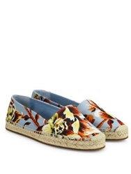 Burberry Hodgeson Floral Espadrille Flats Pale Mineral Blue