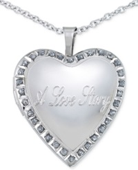 No Vendor Diamond Accent Love Story Heart Pendant Necklace In Sterling Silver