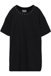 Current Elliott Woman Studded French Cotton Terry Mini Dress Black