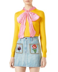Gucci Cashmere Silk Top W Contrast Bow Yellow