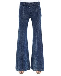 Xcvi French Terry Wide Leg Pants Acid Wash Denim