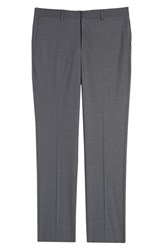 Nordstrom Shop Flat Front Stretch Wool Trousers Grey
