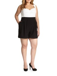 Abs Plus Size Eyelet Short Jumpsuit Black White