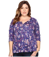 Lucky Brand Plus Size Floral Swing Top Multi Women's Clothing