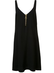 Ellery Gold Tone Neck Zipper Dress Black