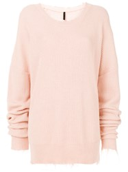 Unravel Project Distressed Ribbed Jumper Pink And Purple