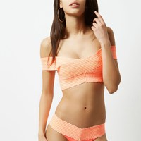 River Island Womens Orange Bandage Bardot Bikini Top