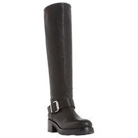 Dune Black Tanna Buckle Detail Knee High Leather Boot Black
