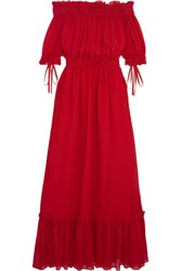 Alexander Mcqueen Off The Shoulder Shirred Cotton And Silk Blend Crinkled Chiffon Maxi Dress It46