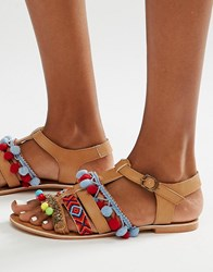 Glamorous Embroidered Pom Pom Sandals Tan