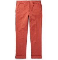Aspesi Slim Fit Garment Dyed Cotton And Linen Blend Twill Chinos Tomato Red