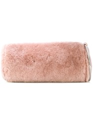 Kara Shearling Wristlet Bag Leather Wool Pink Purple