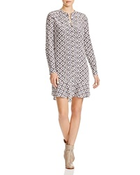 Tory Burch Printed Silk Shirt Dress Ballet Blue Crystals