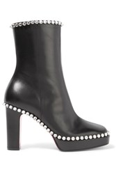Gucci Olympia Crystal Embellished Leather Platform Ankle Boots Black