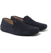 Tod's Gommino Grained Nubuck Driving Shoes Midnight Blue