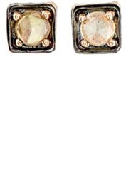 Nak Armstrong Women's Labradorite And Rose Gold Square Stud Earrings Red