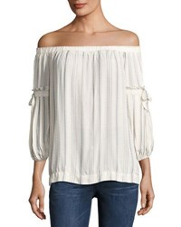 Max Studio Striped Off The Shoulder Shirt White Pattern