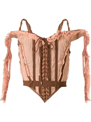 Jean Paul Gaultier Vintage Ruffled Corset Top Pink And Purple